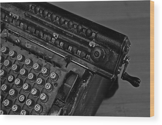 Office Wood Print featuring the photograph Adding Machine Two by Todd Hartzo
