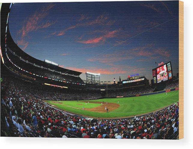 Atlanta Wood Print featuring the photograph Arizona Diamondbacks V Atlanta Braves by Scott Cunningham