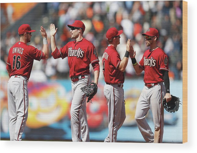 San Francisco Wood Print featuring the photograph Arizona Diamondbacks V San Francisco by Lachlan Cunningham