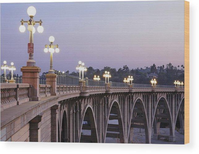Arch Wood Print featuring the photograph Arroyo Seco Bridge Pasadena by S. Greg Panosian