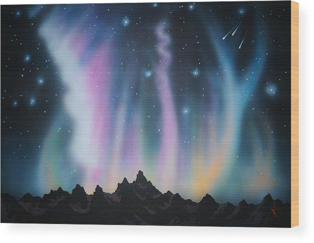 Aurora Borealis Wood Print featuring the painting Aurora Borealis in the Rockies by Thomas Kolendra