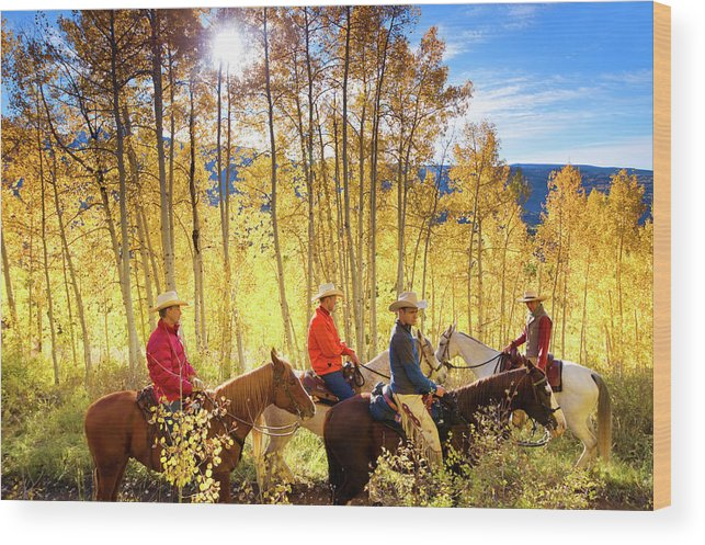Horse Wood Print featuring the photograph Autumn Horseback Riding by Amygdala imagery