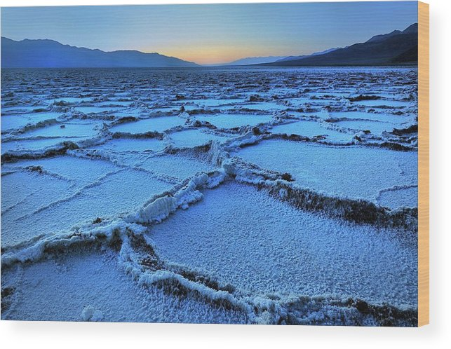 Tranquility Wood Print featuring the photograph Badwater Dusk, Death Valley, California by Joao Figueiredo