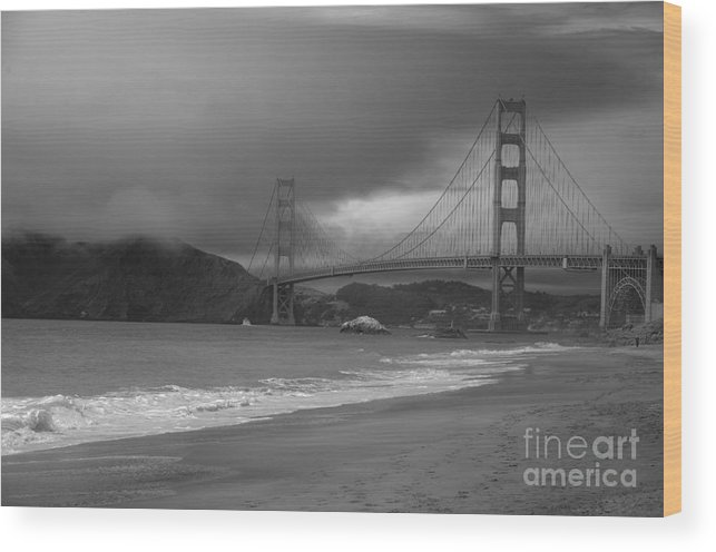 Black And White Wood Print featuring the photograph Baker Beach View by David Bearden