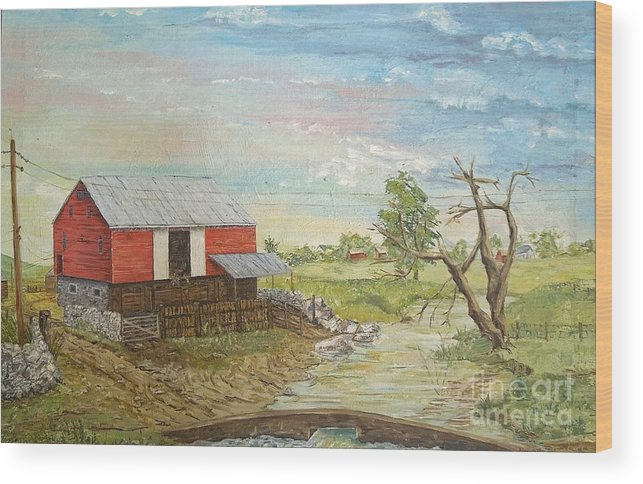 Red Wood Print featuring the painting Barn Beside Cooks Creek by Judith Espinoza