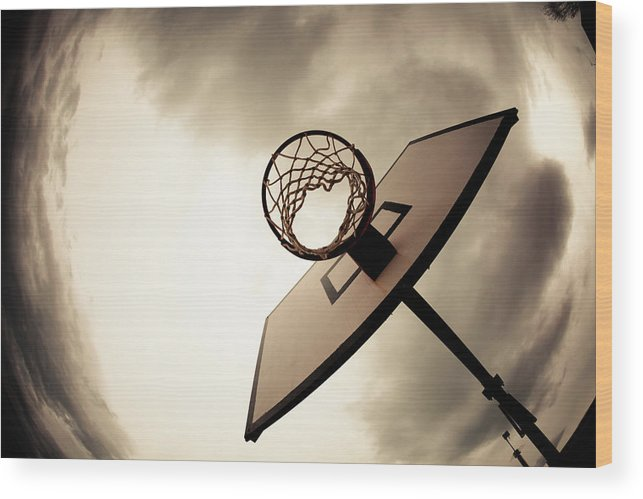 Goal Wood Print featuring the photograph Basketball Hoop, Dramatic Sky by Zodebala