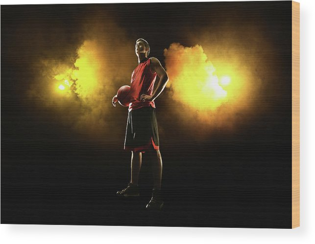 People Wood Print featuring the photograph Basketball Player On Smoky Yellow by Stanislaw Pytel