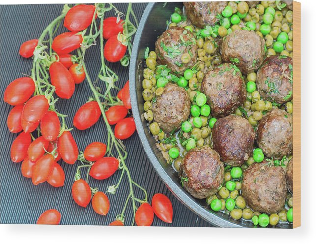 Meatball Wood Print featuring the photograph Beef Meatballs With Peas And Lemon by Olga Solan, The Art Photographer