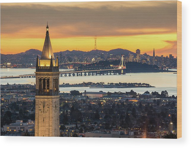 San Francisco Wood Print featuring the photograph Berkeley Campanile With Bay Bridge And by Chao Photography
