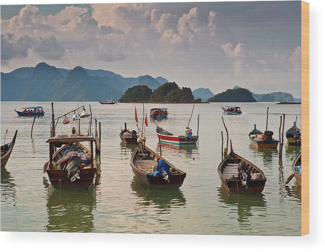 Southeast Asia Wood Print featuring the photograph Boats Moored In Sea, Teluk Baru by Richard I'anson