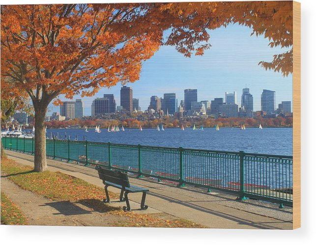 Boston Wood Print featuring the photograph Boston Charles River in Autumn by John Burk