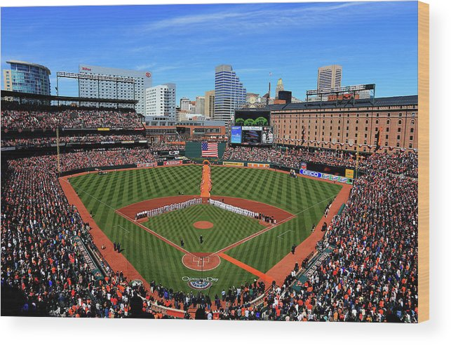 People Wood Print featuring the photograph Boston Red Sox V Baltimore Orioles by Rob Carr