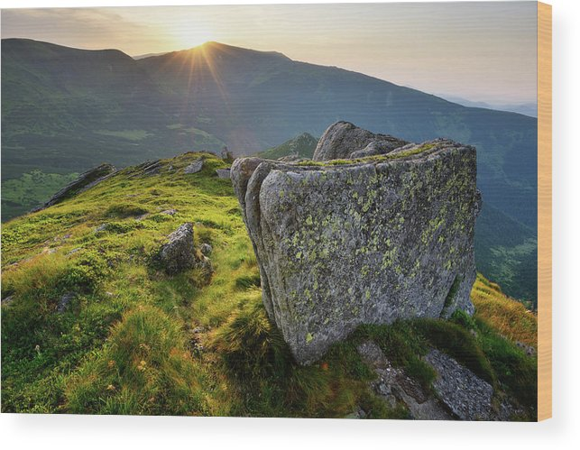 Scenics Wood Print featuring the photograph Bright Sunset Landscape In Mountains by Rezus