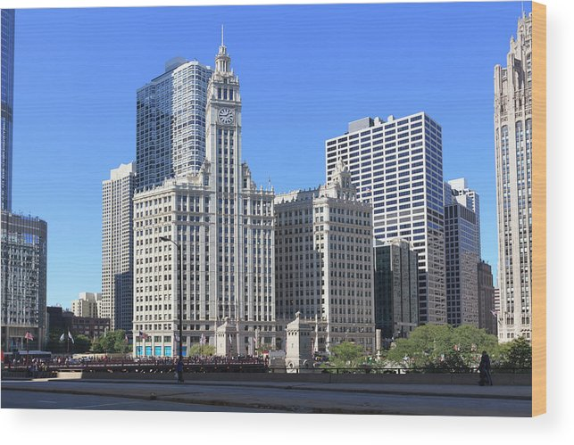 Chicago River Wood Print featuring the photograph Buildings By The Chicago River, Chicago by Fraser Hall