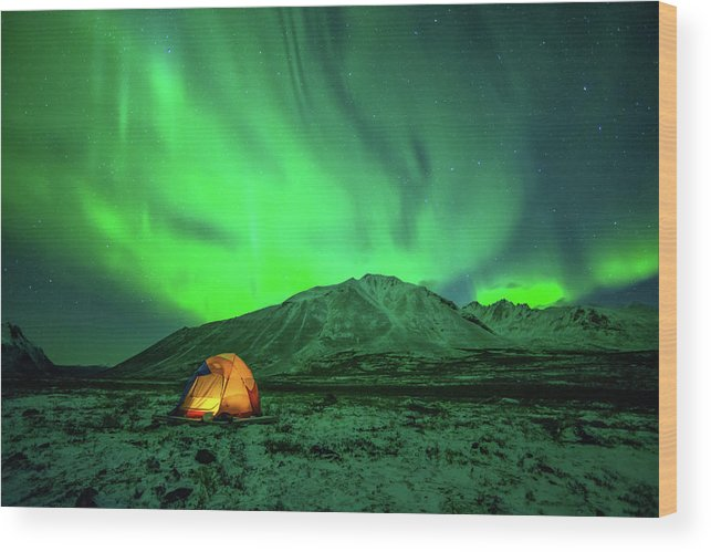 Camping Wood Print featuring the photograph Camping Under Northern Lights by Piriya Photography