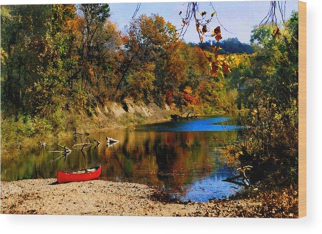 Autumn Wood Print featuring the photograph Canoe on the Gasconade River by Steve Karol