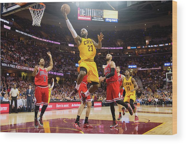 Chicago Bulls Wood Print featuring the photograph Chicago Bulls V Cleveland Cavaliers - by Jason Miller