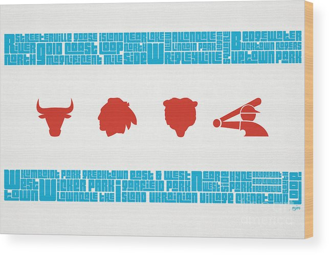 Chicago Wood Print featuring the digital art Chicago Flag Sports Teams V2 by Mike Maher