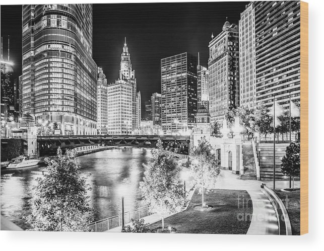 America Wood Print featuring the photograph Chicago River Buildings at Night in Black and White by Paul Velgos