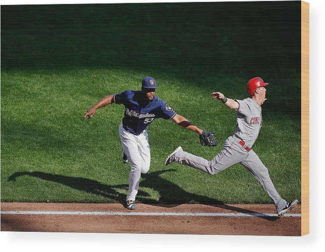 American League Baseball Wood Print featuring the photograph Cincinnati Reds V Milwaukee Brewers by Jon Durr