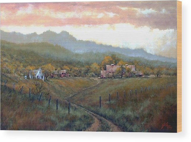 Country Wood Print featuring the painting Clark County Farm by Jim Gola