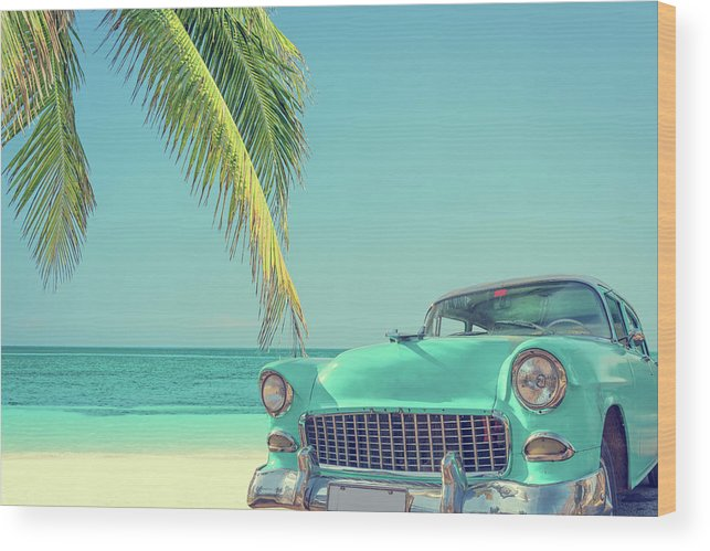Scenics Wood Print featuring the photograph Classic Car On A Tropical Beach With by Delpixart