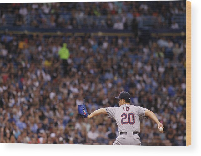 American League Baseball Wood Print featuring the photograph Cleveland Indians V Tampa Bay Rays by Brian Blanco