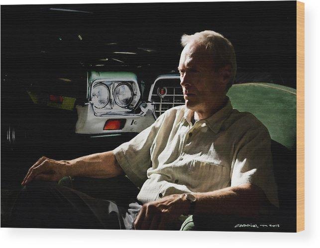 Clint Eastwood Wood Print featuring the digital art Clint Eastwood as Walt Kowalski in the film Grand Torino - Clint Eastwood - 2008 by Gabriel T Toro