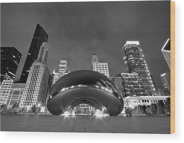 3scape Wood Print featuring the photograph Cloud Gate and Skyline by Adam Romanowicz