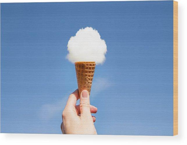 Catalonia Wood Print featuring the photograph Cloud ice cream. by Artur Debat