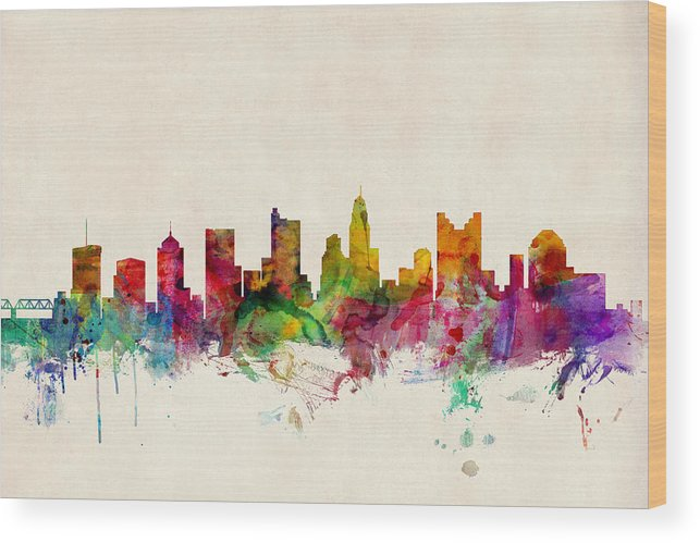 Watercolour Wood Print featuring the digital art Columbus Ohio Skyline by Michael Tompsett