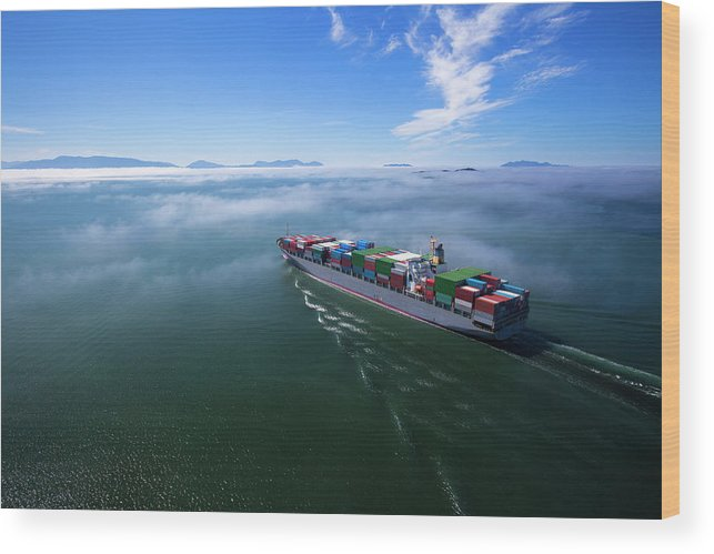 Freight Transportation Wood Print featuring the photograph Container Ship by Dan prat