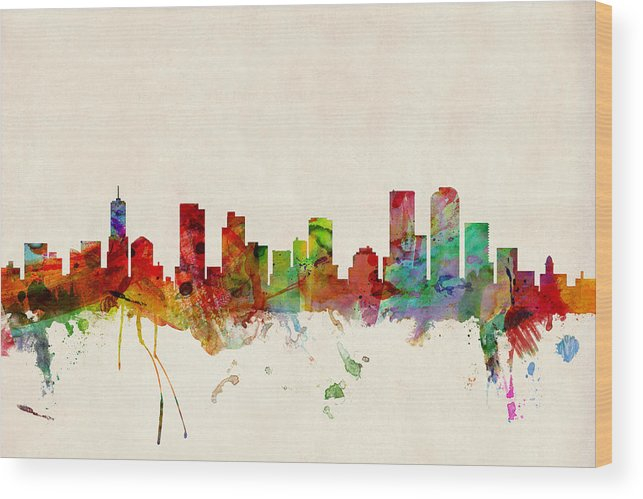 Watercolour Wood Print featuring the digital art Denver Colorado Skyline by Michael Tompsett