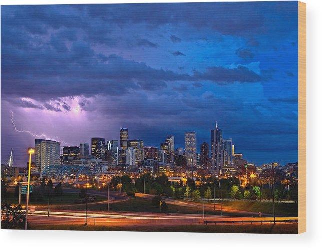 Landscape Wood Print featuring the photograph Denver Skyline by John K Sampson