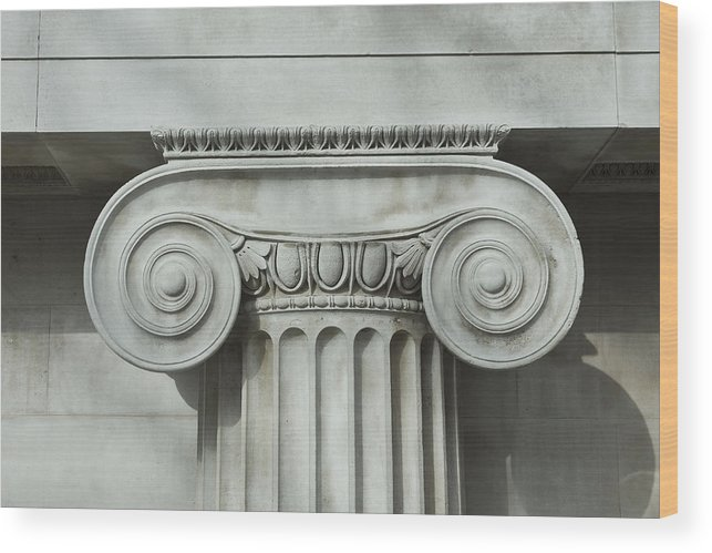 Shadow Wood Print featuring the photograph Detail an ionic column by Norman Posselt