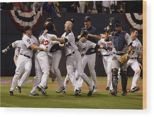 Hubert H. Humphrey Metrodome Wood Print featuring the photograph Detroit Tigers v Minnesota Twins by Jamie Squire
