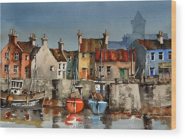 Val Byrne Wood Print featuring the painting Dingle Harbour Kerry by Val Byrne