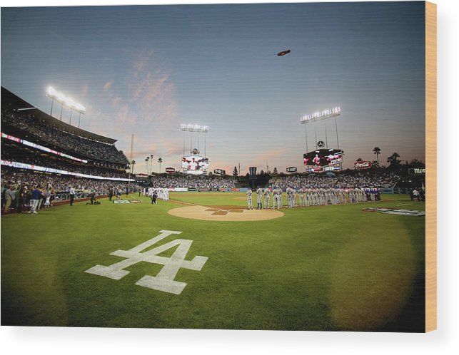 American League Baseball Wood Print featuring the photograph Division Series - New York Mets V Los by Stephen Dunn