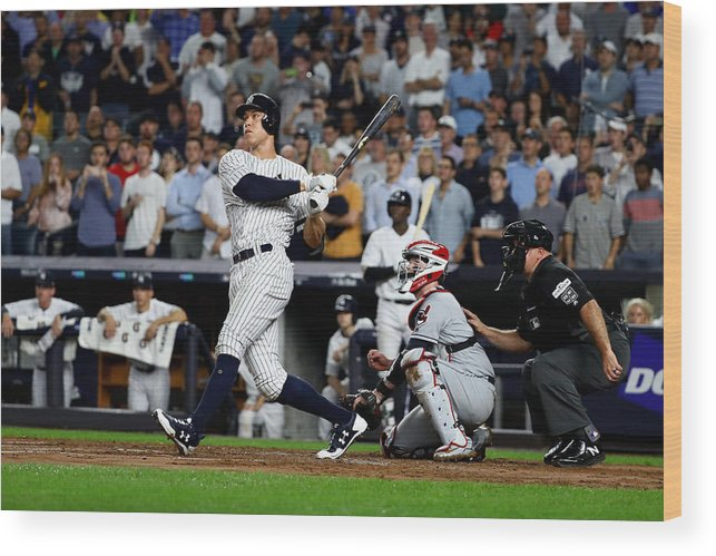 Second Inning Wood Print featuring the photograph Divisional Round - Cleveland Indians v New York Yankees - Game Four by Al Bello
