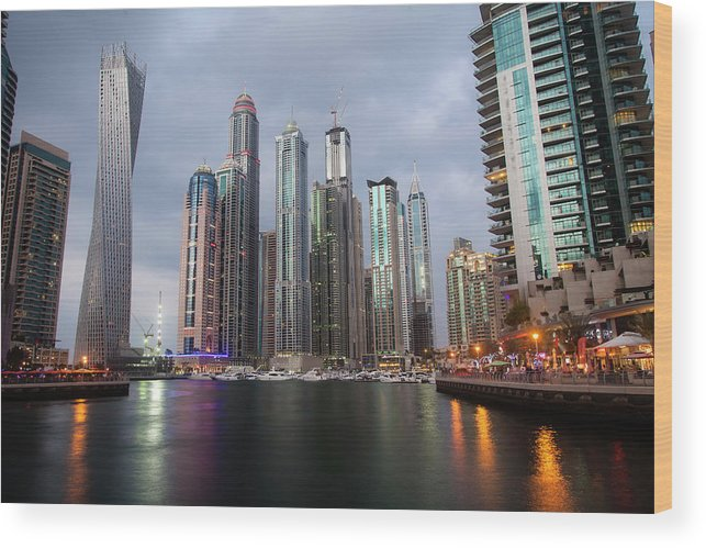 Financial District Wood Print featuring the photograph Dubai Marina Afternoon by Brad Rickerby