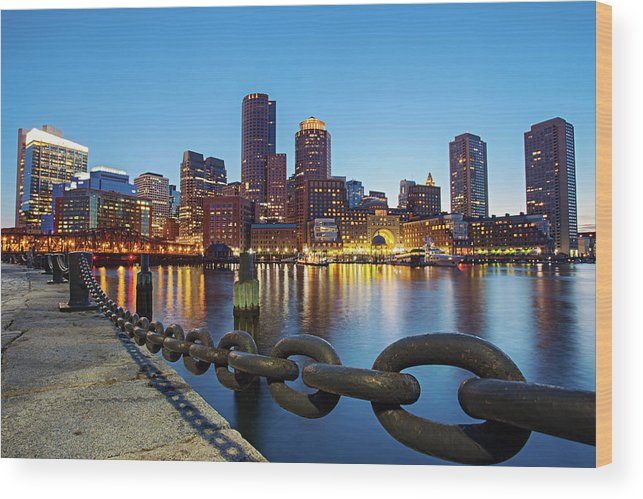 Clear Sky Wood Print featuring the photograph Dusk In Boston by Photography By Nick Burwell