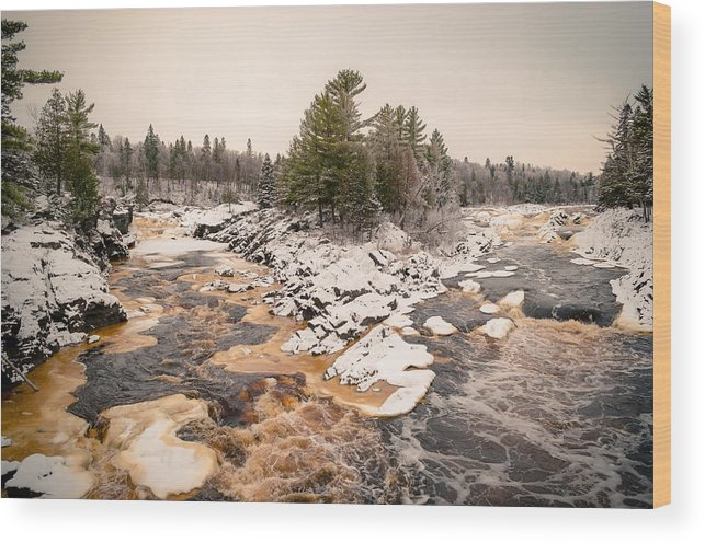 Cloquet Wood Print featuring the photograph Early Snowfall On The Saint Louis River by Ever-Curious Photography