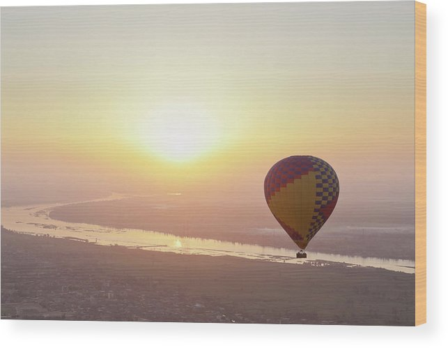 Luxor Wood Print featuring the photograph Egypt, View Of Hot Air Balloon Over by Westend61