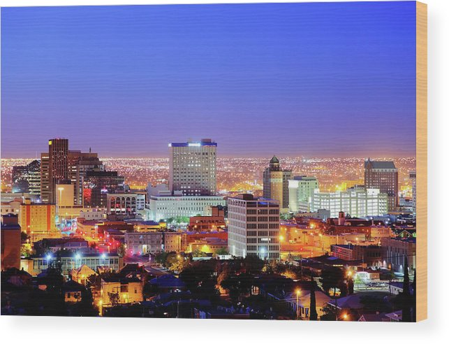 Downtown District Wood Print featuring the photograph El Paso by Denistangneyjr