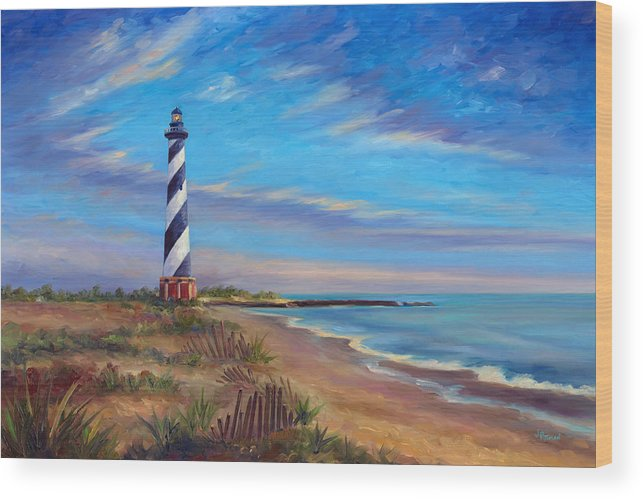 Hatteras Wood Print featuring the painting Evening at Cape Hatteras by Jeff Pittman