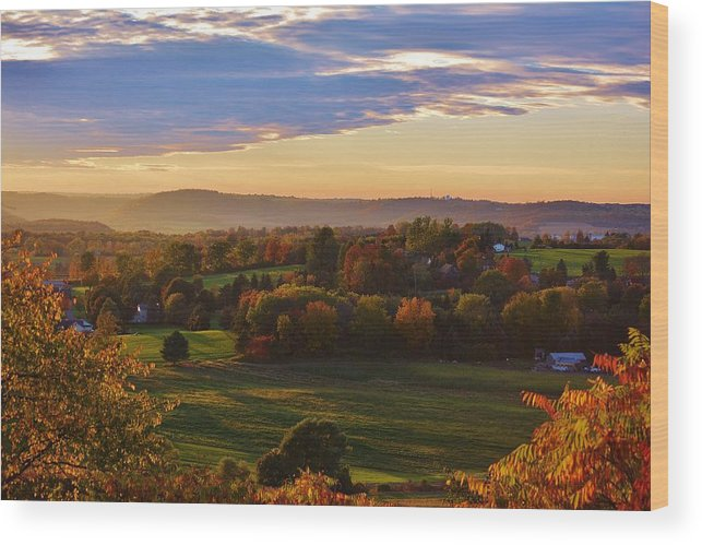 Fall Wood Print featuring the photograph Fall Sunset by Lisa Kane
