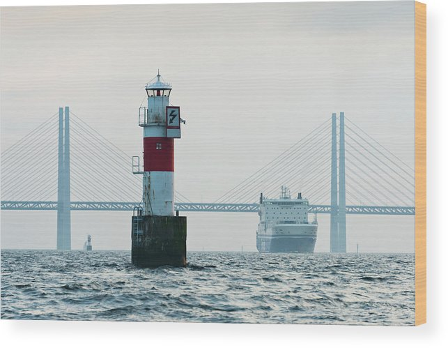 Copenhagen Wood Print featuring the photograph Ferry On Sea, Oresund Bridge In by Johner Images
