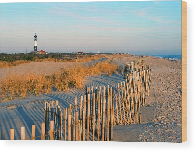 Shadow Wood Print featuring the photograph Fire Island Lighthouse, Long Island, Ny by Rudi Von Briel