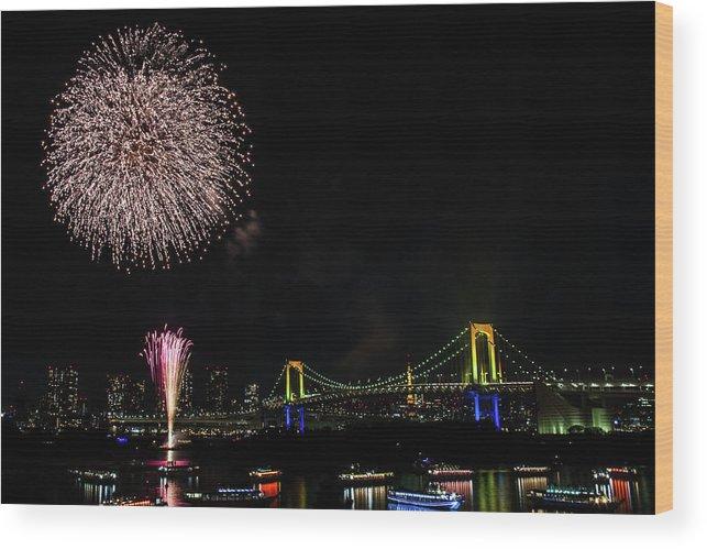 Firework Display Wood Print featuring the photograph Fireworks At Rainbow Bridge by ©alan Nee
