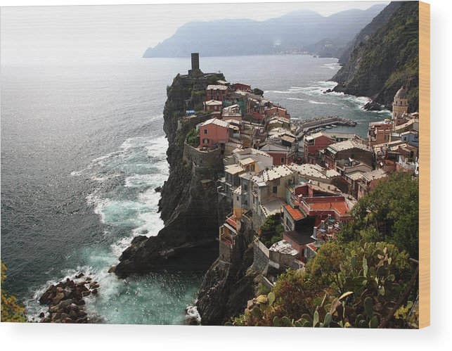 Seascape Wood Print featuring the photograph Fishing Village Of Vernazza, Looking by Bruce Yuanyue Bi